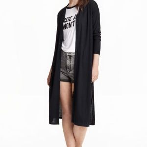 Black Slitted Cardigan with Pockets